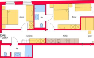 Insieme Obertauern - Grundriss Appartement La Neve